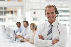 Customer service agent in busy call center.